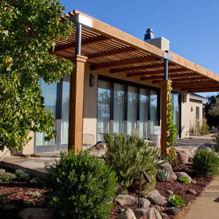 This is an example of a contemporary porch design in Santa Barbara.