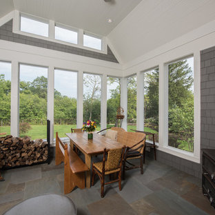 Inspiration For A Mid Sized Timeless Screened In Porch Remodel In Chicago  With A