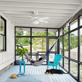Inspiration for a nautical back screened veranda in Austin with decking and a roof extension.