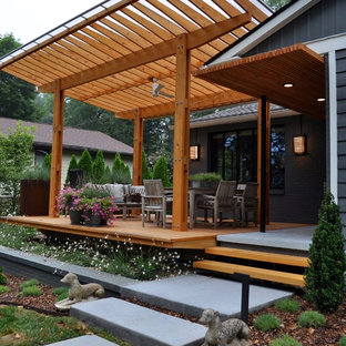 Large 1950s concrete porch idea in Other with a pergola