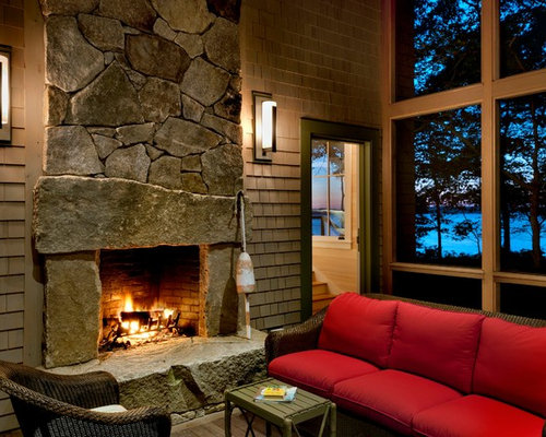 Large Stone Fireplace Houzz