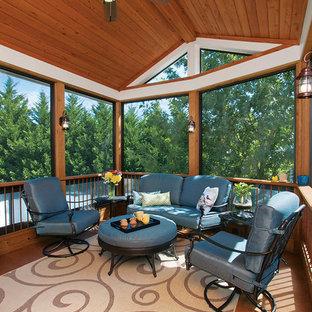Idéer för en mellanstor klassisk innätad veranda på baksidan av huset, med takförlängning