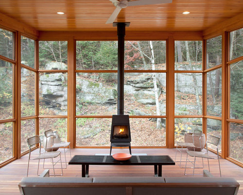 Sunroom with wood burning stove home design ideas for Wood burning stove for screened porch