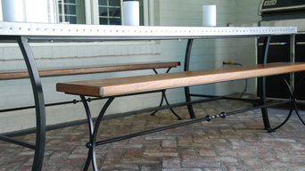 Zinc riveted table top Wrought iron benches