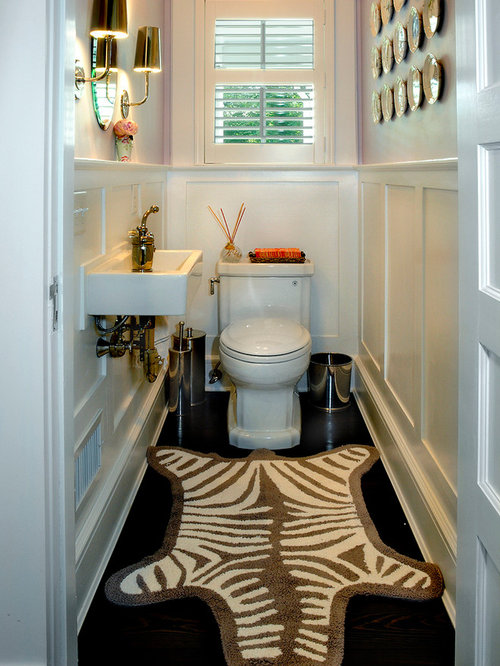 Inspiration For A Farmhouse Dark Wood Floor Powder Room Remodel In New York With Wall