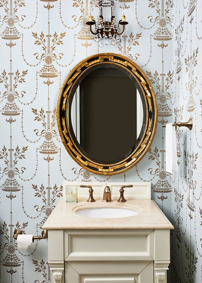 American Traditional Powder Room by InSite Builders & Remodeling