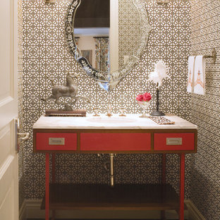 Photo of a traditional powder room in Denver with an undermount sink.