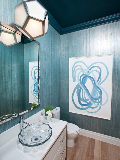 Trendy Powder Room Photo In Other With A Vessel Sink