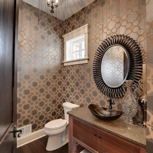 Inspiration for a timeless powder room remodel in Minneapolis with a vessel sink and gray countertops