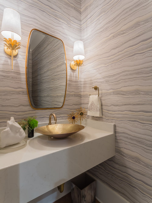 Example Of A Trendy Powder Room Design With Gray Walls Vessel Sink And Engineered