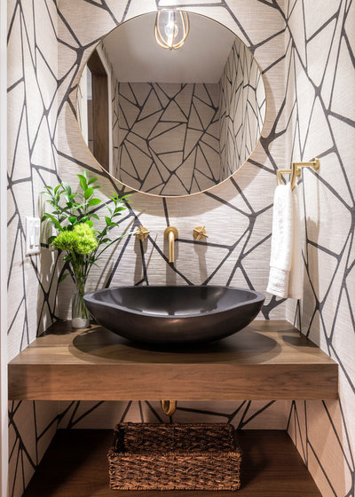 Contemporary Powder Room by BATC-Housing First Minnesota