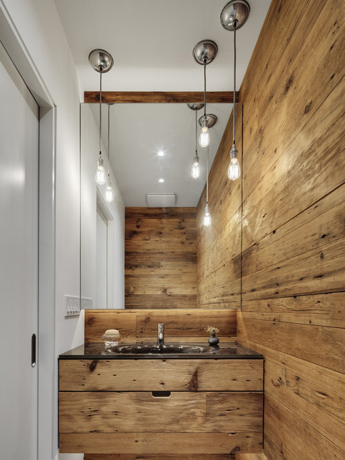 trendy powder room photo in chicago with an integrated sink - Modern Rustic Bathroom