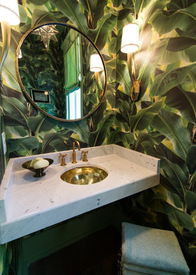 Tropical Powder Room by Our Town Plans