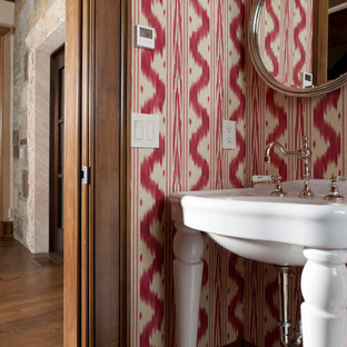 Powder room - small transitional powder room idea in Other with red walls and a console sink