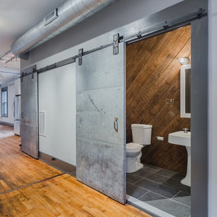 Mid-sized urban gray tile slate floor powder room photo in Baltimore with a two-piece toilet, gray walls and a pedestal sink
