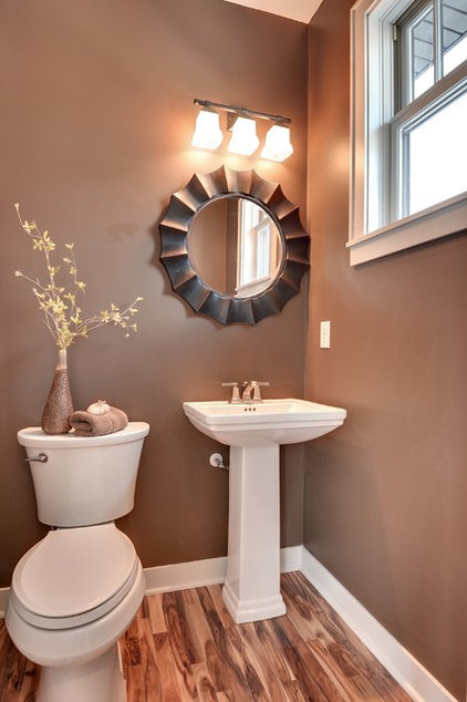 Transitional Powder Room by Sustainable Nine Design + Build