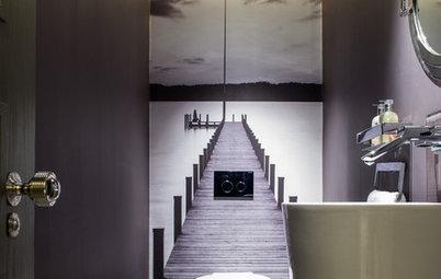Lura ögat med vacker trompe l'oeil-konst i badrummet
