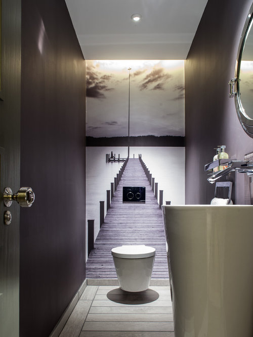 Photos et id es d co de wc et toilettes avec un mur violet for Decoration des toilettes design