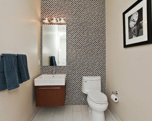 tiled powder room houzz. Black Bedroom Furniture Sets. Home Design Ideas