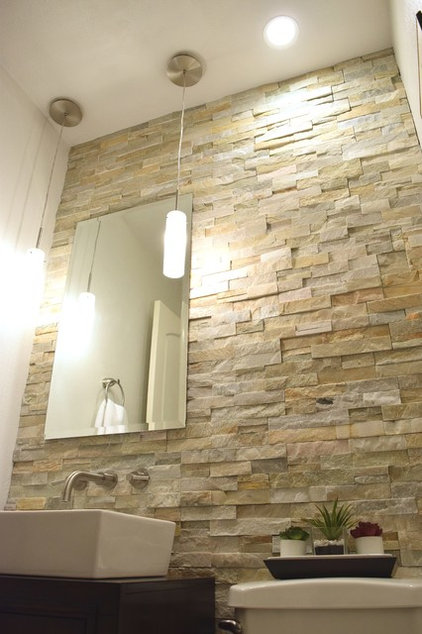 See a diy powder room transformation for 1 100 for Feature wall tile ideas