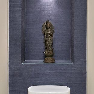 Идея дизайна: туалет среднего размера в современном стиле с открытыми фасадами, белыми стенами, темным паркетным полом, врезной раковиной и коричневым полом