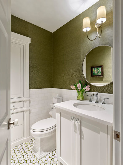 Transitional Powder Room by Krieger + Associates Architects, Inc.