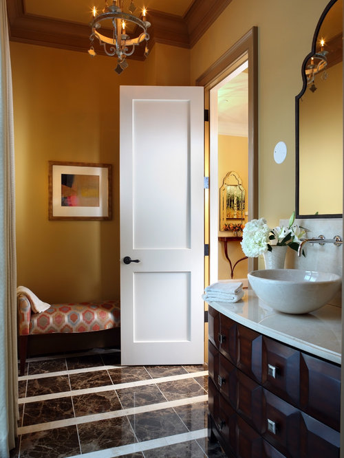 Superb Example Of A Trendy Powder Room Design In DC Metro With A Vessel Sink
