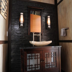 asian powder room by Signature Design & Cabinetry LLC