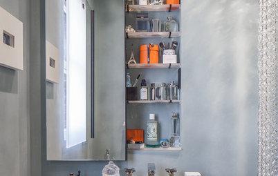 Les rangements de salle de bains se fondent dans le décor