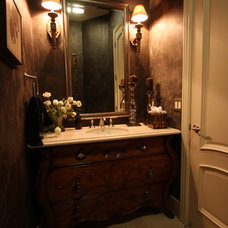 Traditional Powder Room by Omar Tijero Construction