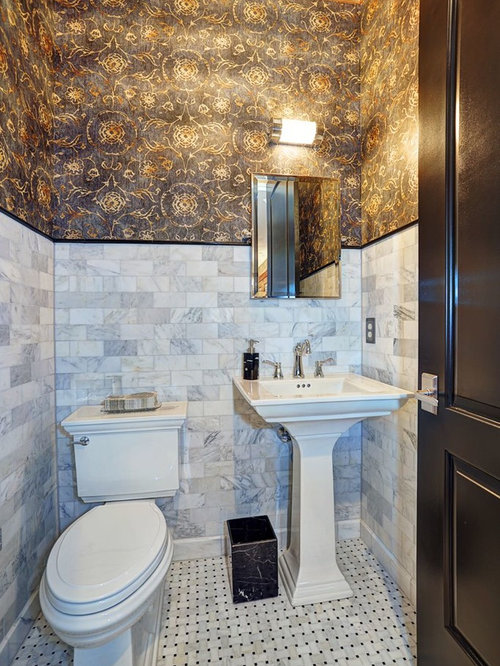 Basketweave floor tile home design ideas pictures - Powder room tile ideas ...