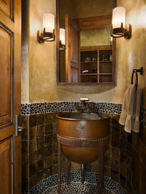 Mountain Style Brown Tile And Pebble Tile Powder Room Photo In Other With A  Pedestal Sink