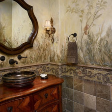 Mediterranean Powder Room by André Martinez