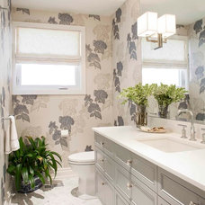 Transitional Powder Room by Meghan Carter Design Inc