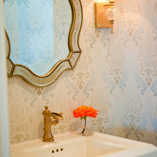 Traditional Powder Room by Red Egg Design Group