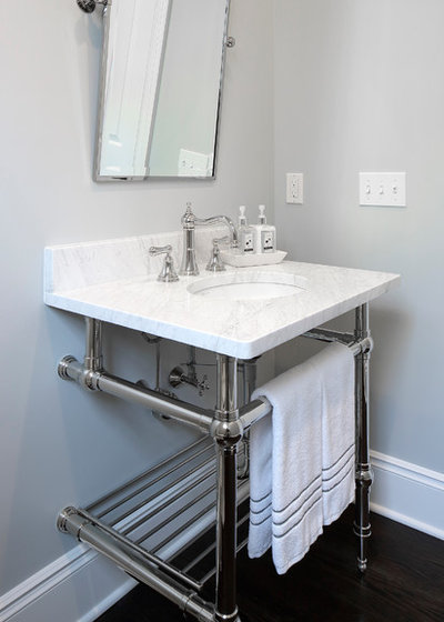 Traditional Powder Room by Best Plumbing Tile & Stone