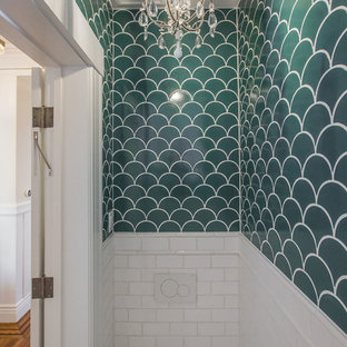 75 Most Popular Cloakroom with Multi-coloured Tiles and Metro Tiles