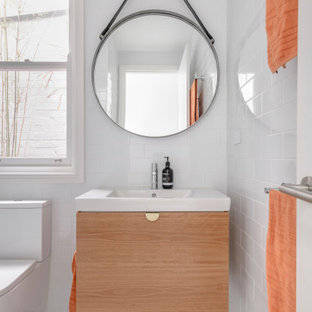 Photo of a contemporary powder room in Sydney.