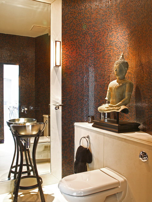 Inspiration for a zen red tile powder room remodel in Other