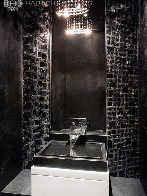 Black Powder Room Design Ideas, Remodels & Photos with Marble Floors