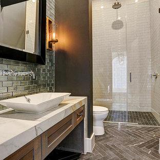 Powder room - mid-sized transitional powder room idea in Houston