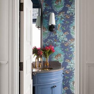 На фото: класса люкс большие туалеты в стиле современная классика с полом из керамической плитки, синим полом и черной столешницей