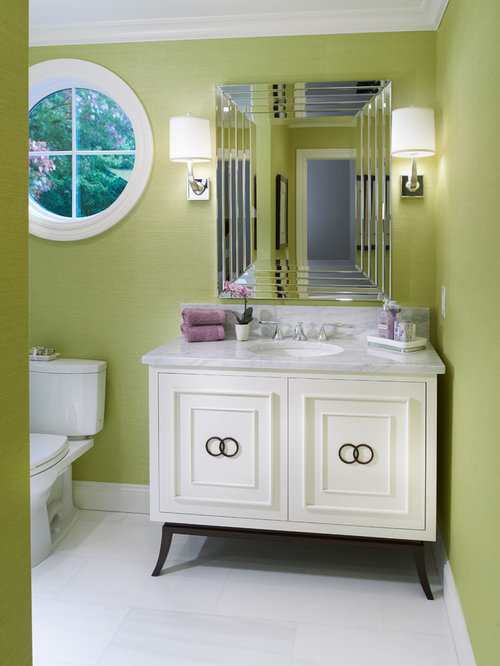 Traditional Powder Room Idea In Cleveland With Furniture Like Cabinets And  Green Walls