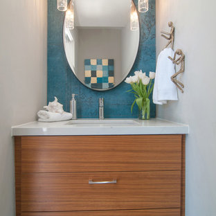 Example of a 1960s powder room design in San Diego