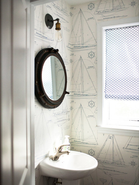 Top 30 Beach Style Nautical Powder Room Ideas Houzz