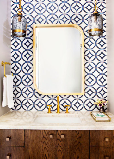 Transitional Powder Room by Etch Design Group
