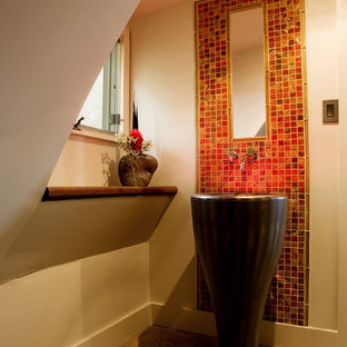 Photo of a medium sized contemporary cloakroom in Atlanta with a pedestal sink, red tiles, mosaic tiles and concrete flooring.