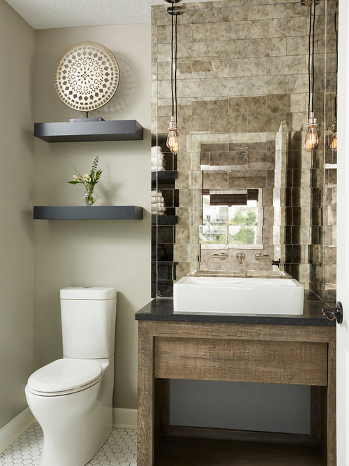75 most popular brown powder room with white tile design - Small powder room decorating ideas ...