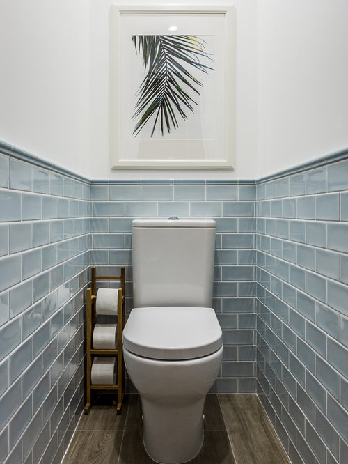 Photos et id es d co de wc et toilettes avec un carrelage bleu for Carrelage sol wc