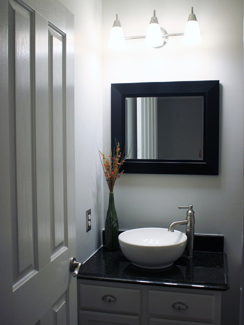 Traditional Powder Room Design Ideas, Remodels & Photos with Gray Cabinets